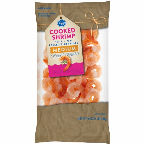 Kroger® Tail-On Peeled & Deveined Medium Cooked Shrimp Perspective: front