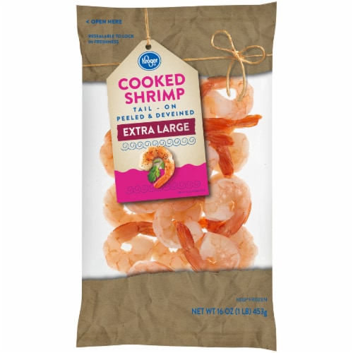 Kroger® Tail-On Peeled & Deveined Extra Large Cooked Shrimp Perspective: front