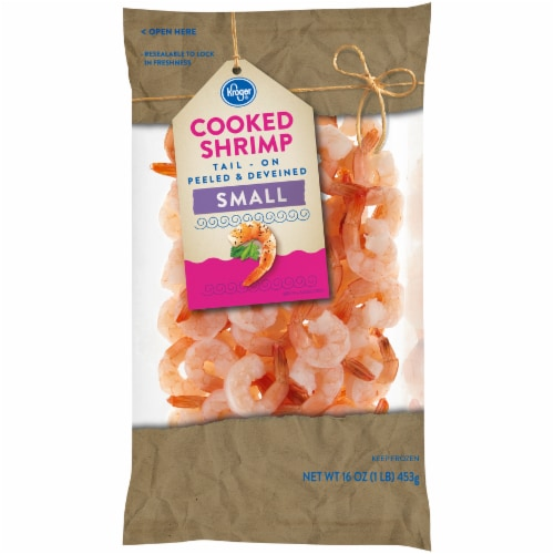 Kroger® Tail-On Peeled & Deveined Small Cooked Shrimp Perspective: front