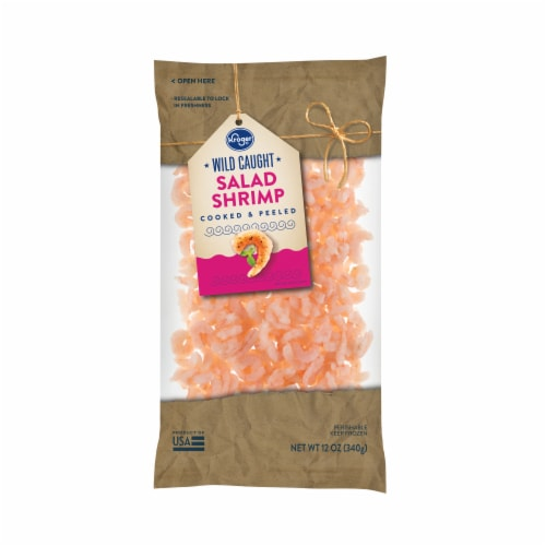 Kroger Wild Caught Cooked & Peeled Salad Shrimp Perspective: front