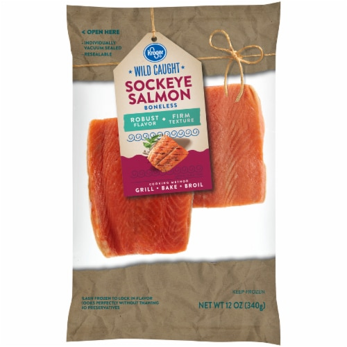 Kroger Wild Caught Boneless Sockeye Salmon Perspective: front
