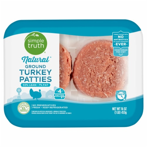 Simple Truth™ Natural 93% Lean Ground Turkey Patties Perspective: front
