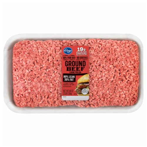 Kroger 80% Lean Ground Beef Perspective: front