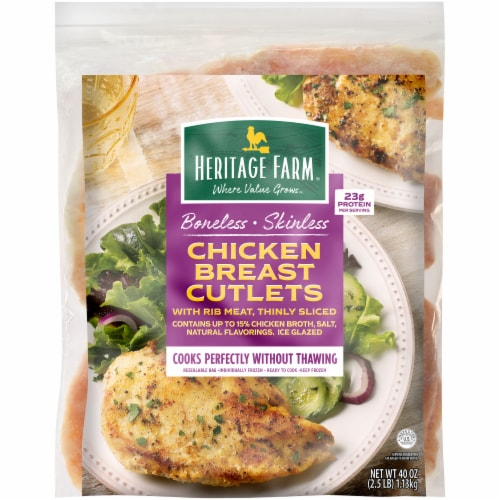 Heritage Farm® Boneless Skinless Chicken Breast Cutlets Perspective: front
