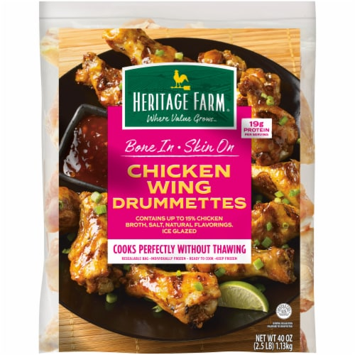 Heritage Farm™ Bone In Skin On Chicken Wing Drummettes Perspective: front