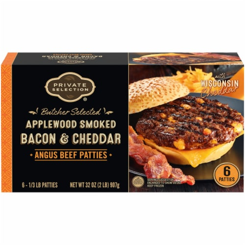 Private Selection™ Applewood Smoked Bacon & Cheddar Angus Beef Patties 6 Count Perspective: front