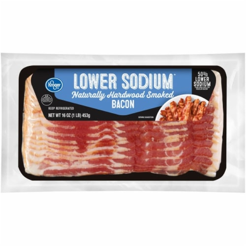 Kroger® Lower Sodium Naturally Hardwood Smoked Bacon Perspective: front