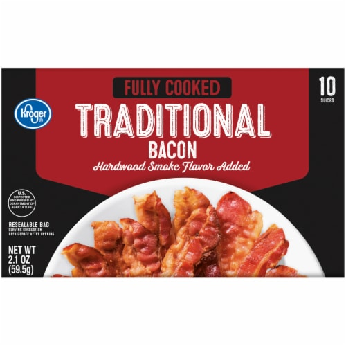 Kroger® Fully Cooked Hardwood Smoke Flavor Traditional Bacon Perspective: front
