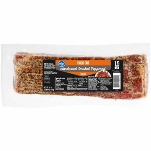 Kroger® Thick Cut Hardwood Smoked Peppered Bacon Perspective: front