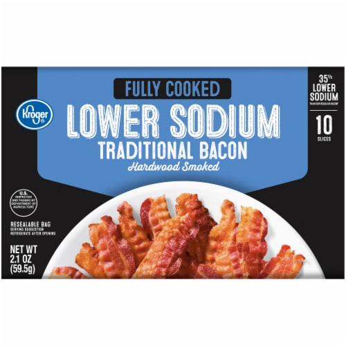Kroger® Fully Cooked Lower Sodium Hardwood Smoked Traditional Bacon Perspective: front