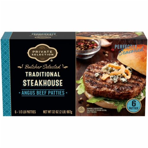 Private Selection® Traditional Steakhouse Angus Beef Patties Perspective: front