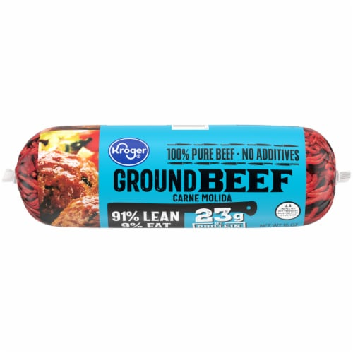 Kroger Ground Beef 91% Lean Perspective: front