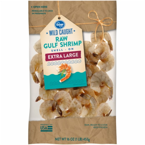 Kroger® Wild-Caught Extra Large Raw Gulf Shell-On Shrimp Perspective: front