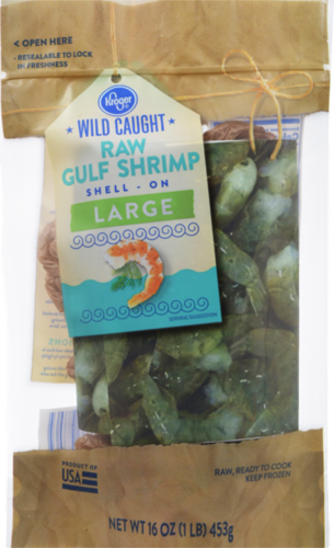 Kroger® Large Wild Caught Shell-On Raw Gulf Shrimp Perspective: front