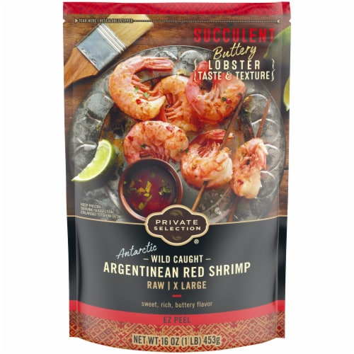 Private Selection Wild Caught Argentinean Red Raw X Large Ez Peel Shrimp Perspective: front