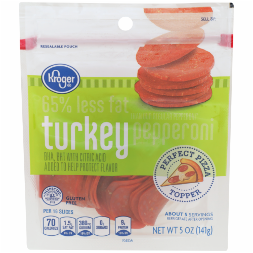 Kroger® Sliced Turkey Pepperoni Perspective: front