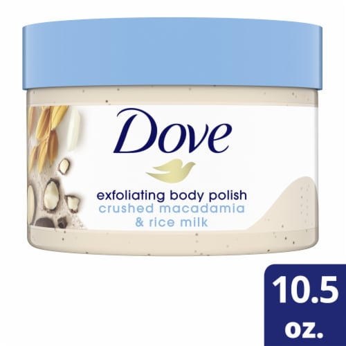 Dove Crushed Macadamia & Rice Milk Exfoliating Body Polish Perspective: front