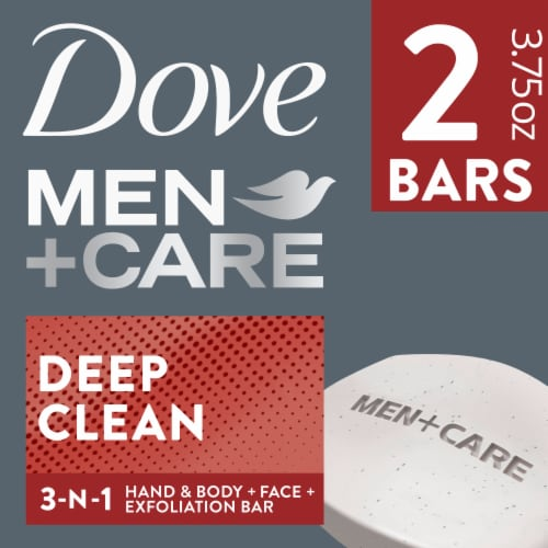 Dove Men + Care Deep Clean Body + Face Bar Soap Perspective: front