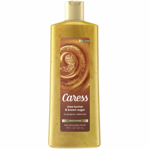 Caress Shea Butter & Brown Sugar Exfoliating Body Wash Perspective: front