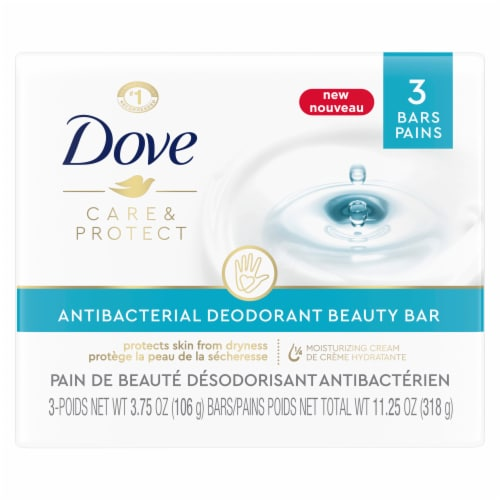 Dove Care & Protect Antibacterial Deodorant Beauty Bar Soap Perspective: front