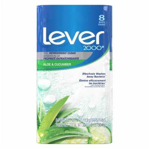 Lever 2000 Aloe & Cucumber Bar Soap Perspective: front