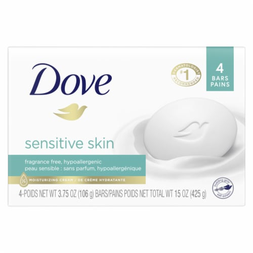 Dove Sensitive Skin Fragrance Free Hypoallergenic Beauty Bars Perspective: front