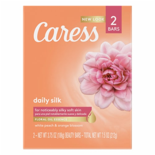 Caress Daily Silk White Peach & Silky Orange Blossom Beauty Bar Soap Perspective: front
