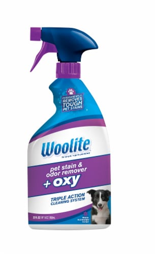 Woolite Pet Oxygen Stain & Odor Remover Fresh Blossoms Scent Tripe Action Cleaning System Perspective: front