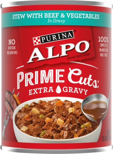 Purina Alpo Prime Cuts Stew with Beef & Vegetables in Gravy Wet Dog Food Perspective: front
