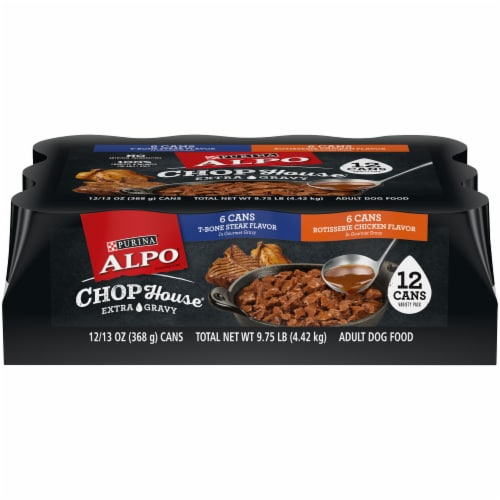 Purina Alpo Chop House Steak and Chicken in Gourmet Gravy Wet Adult Dog Food Variety Pack Perspective: front