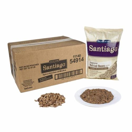 Santiago Whole Vegetarian Refried Beans - 27.07 oz. pouch, 6 pouches per case Perspective: front