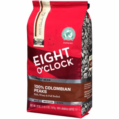 Eight O'Clock 100% Colombian Peaks Medium Roast Whole Bean Coffee Perspective: front