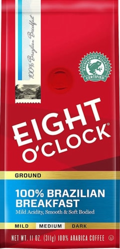 Eight O'Clock 100% Brazilian Breakfast Medium Blend Ground Coffee Perspective: front