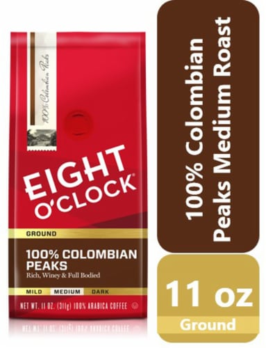 Eight O'Clock 100% Colombian Peaks Medium Roast Ground Coffee Perspective: front