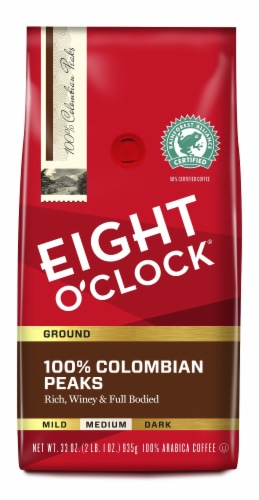 Eight O' Clock 100% Colombian Peaks Medium Ground Coffee Perspective: front