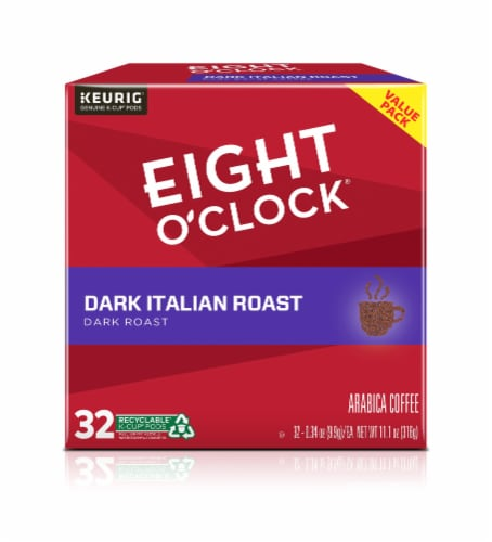 Eight O'Clock Dark Italian Roast K-Cup Coffee Pods 32 Count Perspective: front