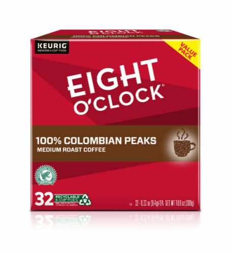 Eight O'Clock Colombian Peaks Medium Roast K-Cup Coffee Pods 32 Count Perspective: front