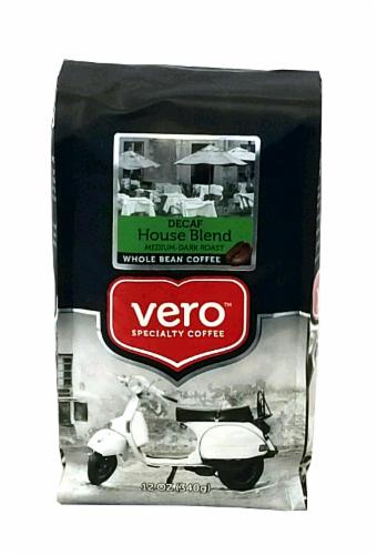 Vero Decaf House Blend Medium-Dark Roast Whole Bean Coffee Perspective: front