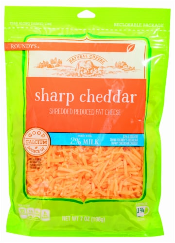 Roundy's 2% Milk Sharp Cheddar Shredded Cheese Perspective: front