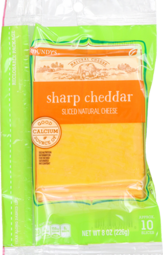 Roundy's Sharp Cheddar Natural Cheese Slices Perspective: front