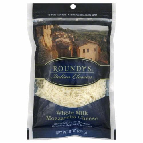 Roundy's Shredded Whole Milk Mozzarella Cheese Perspective: front