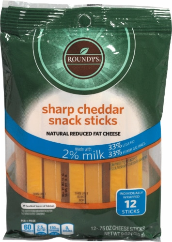 Roundy's 2% Sharp Chedder Snack Sticks Perspective: front