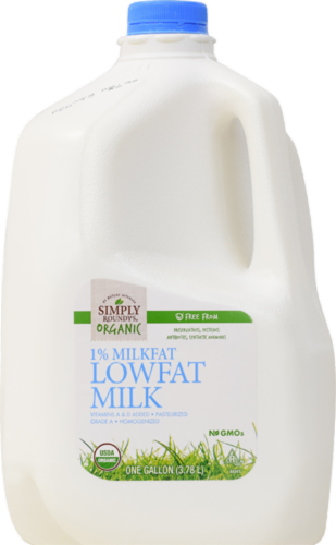 Simply Roundy's Organic 1% Low Fat Milk Perspective: front