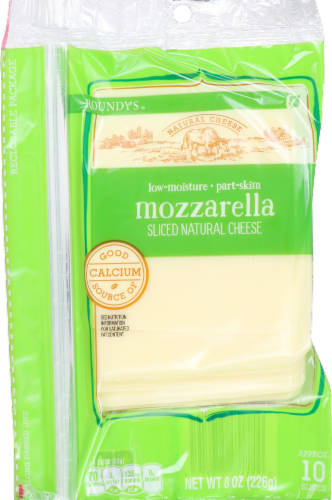 Roundy's Natural Sliced Mozzarella Cheese Perspective: front