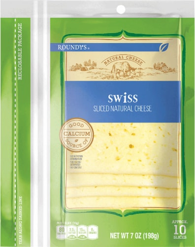 Roundy's Natural Sliced Swiss Cheese Perspective: front