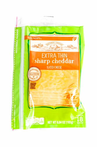 Roundy's Extra Thin Sharp Cheddar Sliced Cheese Perspective: front