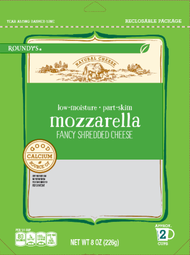 Roundy's Low-Moisture Part-Skim Mozzarella Shredded Cheese Perspective: front