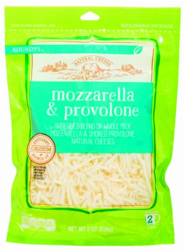 Roundy's Shredded Mozzarella & Provolone Cheese Blend Perspective: front