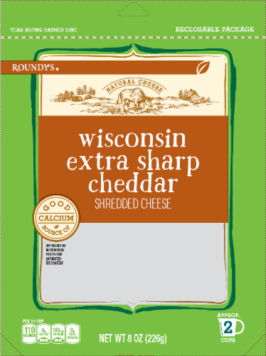 Roundy's Wisconsin Extra Sharp Cheddar Shredded Cheese Perspective: front