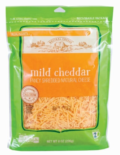Roundy's Mild Cheddar Shredded Cheese Perspective: front